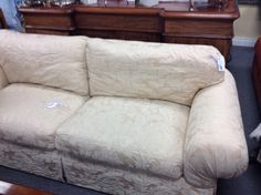 Bernhardt Sofa - Down filled cushions and a very nice neutral fabric.   Item 684-4.  Price. $650.00     - http://takeitorleaveit.co/2014/11/22/bernhardt-sofa/