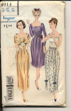 Vogue 4014 Misses Evening Dress and Fichu Cocktail Dress Gown Womens Vintage Sewing Pattern Bust 32 UNCUT 1950s Dress Patterns, Evening Dress Patterns, Vogue Dress Patterns, Vintage Vogue Patterns, Dress Making Patterns, Clothing Patterns, Vintage Dresses, Vintage Outfits, Vintage Fashion