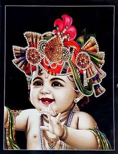 Baby Krishna - Hindu Posters (Reprint On Card Paper - Unframed) Baby Krishna, Little Krishna, Cute Krishna, Yashoda Krishna, Iskcon Krishna, Krishna Radha, Hanuman, Lord Krishna Images, Radha Krishna Pictures