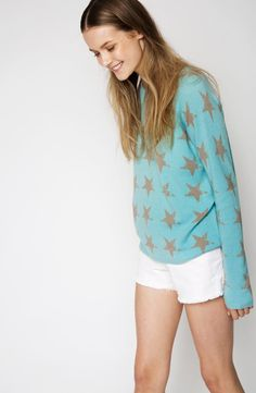 The Star Cashmere Sweater in Pool Blue Uk Size 16, Star Print, Cashmere Sweaters, Color Pop, White Shorts, Super Cute, Stars, Summer, Model