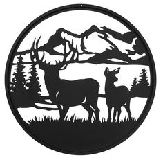 Swen Products Deer Buck Wildlife Black Metal Welcome Sign Hirsch Silhouette, Silhouette Clip Art, Metal Tree Wall Art, Metal Art, Paint Metal, Deer Design, Wall Design, Hirsch Design, Metal Welcome Sign