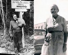 In 1955, at the age of 67, Emma Rowena Gatewood became the first woman to hike the entire 2,168 mile (3,489 km) Appalachian Trail -- wearing sneakers and carrying an army blanket, a raincoat, a shower curtain, and a change of clothes in a homemade bag which she slung over one shoulder. For food, she foraged for wild plants, as well as carried dried meat, cheese, nuts, and dried fruit. The mother of 11 and grandmother of 23, Gatewood is now considered a pioneer of ultra-light hiking