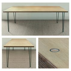 Birch faced plywood table top and mild steel hairpin legs.