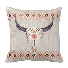 Amazon.com - 16 Inch Square Decorative Cotton Cushion Cover Southwestern Steer Skull And Tribal Pattern Pillowcase 16 x 16(One Side) -