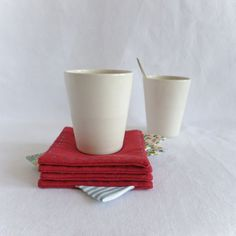 Set of 4 red heavy cotton coasters with colorful by Join us for Dinner at TableStories