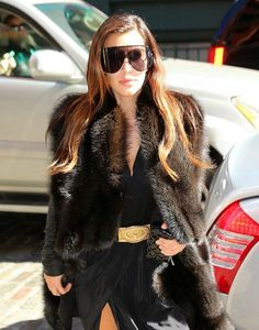 Kimmy K: Skirt from Dash, Lanvin top, Balmain belt, Tom Ford boots and Rick Owens sunglasses and coat.    ~Obsessed with that coat + glasses!