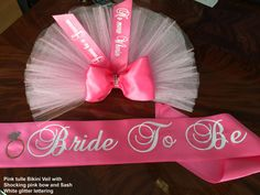 Butt Veil ribbon and lettering by SashANation PERSONALIZED colors available in tulle Booty Veil Bikini Veil Bachelorette TuTu Party Veil