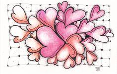 kaart 60 - valentine - by JeAnToin Valentine Stuff, Zen Doodle, Zentangles, Dangles, Cards, Inspiration, Biblical Inspiration, Zentangle, Maps