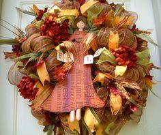 Fall Harvest Wreath Fall Door Wreath Angel Wreath by LisasLaurels