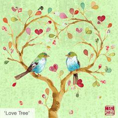 Birdie love tree - Original Painting Of Artist Chris Chun.