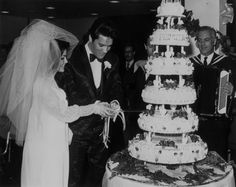 """1967 - 32 year old Elvis Presley's, """"The King of Rock'n' Roll"""" married 21 year old Priscilla Beaulieu in Las Vegas. The cake alone reportedly costs $3200 (about $22,000 in today's dollars!)"""