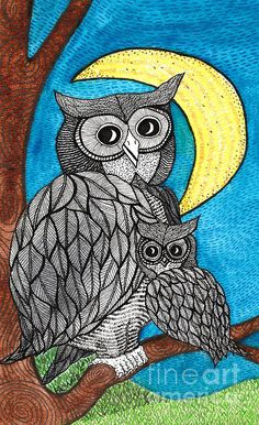 Owl Drawing - Mums The Word by Barbra Drasby Owl Crochet Patterns, Zentangle Patterns, Zentangles, Word Drawings, Owl Coloring Pages, Kalamkari Painting, Stippling Art, Colored Pencil Artwork, Madhubani Art