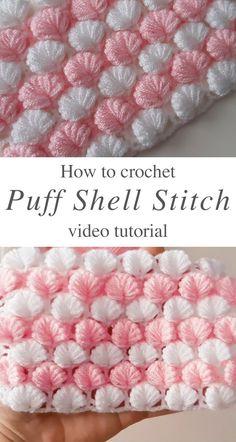 Crochet Shell Pattern, Crochet Baby Blanket Free Pattern, Baby Afghan Crochet, Crochet Shell Blanket, Baby Blanket Tutorial, Crochet Stitches For Blankets, Crochet Stitches Patterns, Unique Crochet Stitches, Beginner Crochet Blankets