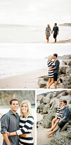 I would love engagement photos on the beach and her dress is cute