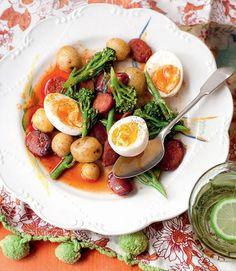 Pan-fried broccoli with chorizo, new potatoes and eggs
