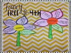 Figurative Language Flowers - a great Spring Bulletin board and review of figurative language. Students create a flower based on one of the figurative language techniques: simile, metaphor, hyperbole, onomatopoeia, personification and alliteration.