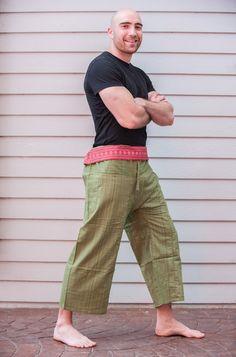 Unisex Green Thai Pin Stripe Cotton Fisherman Pants