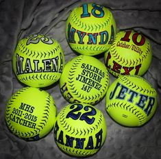 A personal favorite from my Etsy shop https://www.etsy.com/listing/191538166/customized-softballs-baseballs