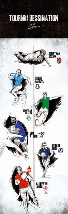 Guillaume Clavier Tournoi des 6 Nations Rugby, Illustration, Jonathan Joseph, Sergio Parisse, Stuart Hogg, Jonathan Sexton, Uini Atonio, Alun Wyn Jones.