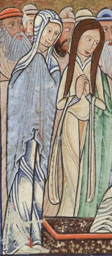 """Two women from """"The Raising of Lazarus"""", folio 11v, detail from the Hunterian Psalter, Glasgow University Library MS Hunter 229 (U.3.2) ca. 1170"""