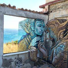 Greece 2017 by wild drawing aka WD street art Murals Street Art, Street Art Graffiti, Mural Art, Art Art, Amazing Street Art, Amazing Art, Henri Matisse, Famous Street Artists, Urban Street Art