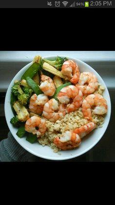 Shrimp, brown rice & grilled veggies