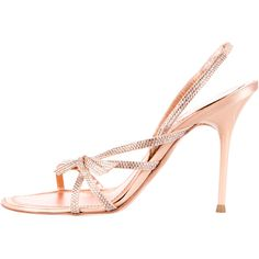 Pre-owned Rene Caovilla Bejeweled Raso Sanda;s ($325) ❤ liked on Polyvore featuring shoes, sandals, neutrals, rene' caovilla sandals, bow sandals, pink sandals, pink bow shoes and bow shoes