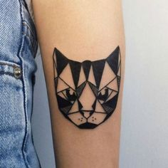 Geometric cat tattoo