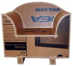Fauteuil en carton brut Cardboard Furniture, Cardboard Crafts, Cardboard Boxes, Eco Design, Mailbox, Making Out, Miniatures, Toys, Outdoor Decor
