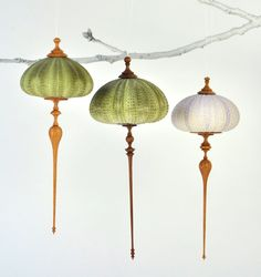 Sea urchin and wood ornaments by Ashley Hardwood.