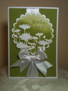 white embossing powder flowers card