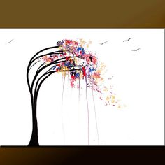 Abstract Tree Art Painting on Canvas 36x24  Original by wostudios, $129.00
