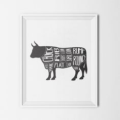 Beef Cow Meat Cut Butcher Diagram BBQ Chuck Rib Rump Kitchen Print Instant Download Printable Digital Art Print Typography Poster Wall Decor
