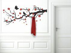 Интерьерные наклейки на стену с крючками для одежды. Красивые интерьеры и дизайн
