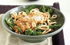 Chilli chicken with ginger and udon noodles