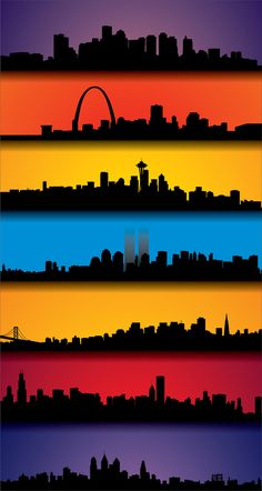 Skylines of Boston, St. Louis, Seattle, New York, San Francisco, Chicago, and…