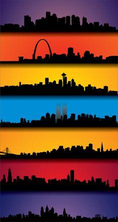 Skylines of Boston, St. Louis, Seattle, New York, San Francisco, Chicago, and Philadelphia...breathtakingly beautiful!