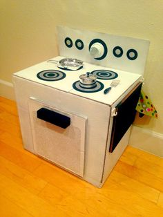 How I upcycled a cardboard box and turned it into a kid's play stove for less than $5. Turn a cardboard box into a play stove for just $5 total spent on it. $2…