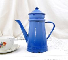 Antique French Pale Blue Enamelware Cafetière Excellent Condition, Enamel, Coffee Pot, French Country Decor, Cottage, Retro, Vintage, Home by VintageDecorFrancais on Etsy