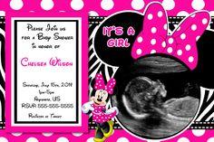 Baby Shower Invitations Minnie Mouse Polkadot Frame Wording USG Black Whitephoto Ribbon Very