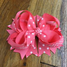 Coral and white dot hair bow - Hairbow , hair clip bow, girls hair bow - stacked boutique - Birthday hairbow - spikes, TBB by BBgiftsandmore on Etsy
