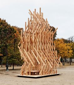 Kengo Kuma has installed a climbable wooden pavilion in a Paris park.