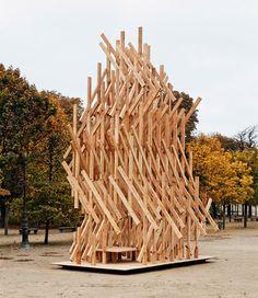 Kengo Kuma has installed a climbable wooden pavilion in a Paris park.