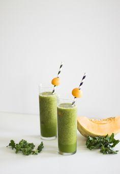 Kale and Cantaloupe Smoothie: I like the use of coconut water. maybe adding aloe juice to it?