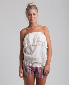 80852735811 DREAM CATCHER TUBE TOP    vanilla - Your friends are sure to be jealous of  this tank with it s lace and fringe ruffle and smocked waistband