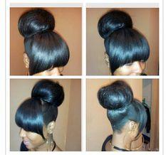 black hairstyles buns bangs - Google Search