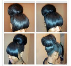 black hairstyles buns bangs - Google Search