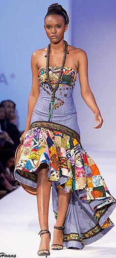 Denim made better- african style African Wear, African Dress, African Fashion, African Style, Altered Couture, Fashion Week, Fashion Show, Womens Fashion, Afro Style
