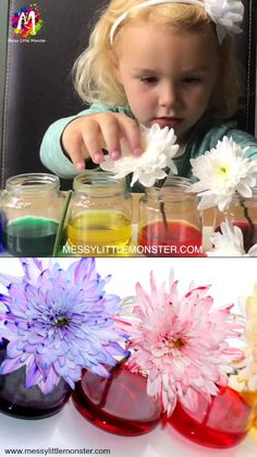 Colour Changing Flowers Science experiment <br> Colour Changing Flowers Science Experiment - A fun science project for kids or easy science experiment for preschoolers. This cool science experiment teaches children about how plants absorb water. Science Experiments For Preschoolers, Science Projects For Kids, Cool Science Experiments, Science For Kids, Diy Crafts For Kids, Summer Science, Simple Crafts, Cool Crafts, Kindergarten Science Experiments