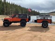 Duane's is another great matching DIY Dinoot Jeep Trailer hitting the road for Trailer Supported Adventuring this Summer. Off Road Camper Trailer, Camper Trailers, Travel Trailers, 1997 Jeep Wrangler, Jeep Tj, Expedition Trailer, Overland Trailer, Jeep Unlimited, Jeep Models